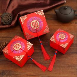 Scatola di dolci di cerimonia nuziale cinese online-Scatola di caramelle quadrate con scatola di dolciumi in carta stile vintage cinese doppia felicità e scatola portafortuna W9483