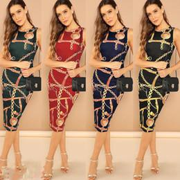 tissu vintage à imprimé floral Promotion Marque Sexy Dress 2019 Date Femmes Robes Impression Robe Moulante Élégante Sans Manches Dress Club Soirée De Fête