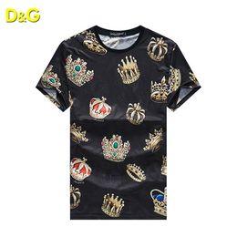 HOT 2019 Crown KING Marque T-shirt Homme DG001 Vêtements D'été avec Étiquette Designer de Mode à manches courtes T-shirt Homme Style Italie T-shirt ? partir de fabricateur
