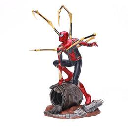 Homem, aço, ação, figuras on-line-ArtFX Avenger aliança 3 Guerra Infinita aranha acessórios de aço homem Action Figure Com Coleção Modelo Base Boneca Brinquedos presente