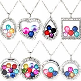 "steel floats Promo Codes - More Style 8mm 10mm Pearl Beads Cage Silver Color Geometry Magnetic Glass Floating Locket Pendants Women Charms 20"" Necklace-P"