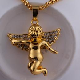 2019 cupido de ouro 18k 18k ouro anjo deus do amor diamante cupido pingentes colar de hip hop jóias para mulheres homens presente cupido de ouro 18k barato
