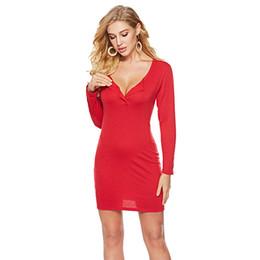 Kadın Düğme Seksi Elbiseler Kadın Giyim Parti Elbiseler Yuvarlak Boyun Uzun Kollu Slim Fit Katı Renk Düğmesi 49 supplier sexy slim fit dresses nereden seksi ince kıyafetler tedarikçiler