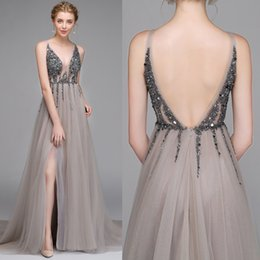 543647d842 New Sparkly Grey Prom Dresses Side High Slit Sexy Backless V neck Straps  Sequins Major Beaded Illusion Tulle Cheap Long Formal Evening Gowns