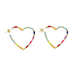 enamorado regalos novia Rebajas 2019 moda valentines amante de la joyería lleno de oro esmalte colorido en forma de corazón pendientes para novia mujer encanto regalo