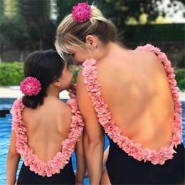 Blumenmädchen Badebekleidung Kinderbadebekleidung Mama und Tochter passende Outfits Familien passende Outfits Mutter und Tochter Bikini Badeanzüge A6835 von Fabrikanten