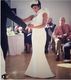 Elegant Une Epaule Robes De Mariée Sirène Etage Longueur Satin Merrmaid Robes De Mariée 2019 Plus La taille robe de mariee ? partir de fabricateur