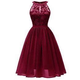 be17b87181 Sensfun 2019 Sexy Burgundy Halter Lace Girl Dresses Women Vintage Dress  Vestidos A Line Audrey Hepburn Robe Retro Rockabiliy