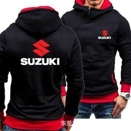 men s oblique zipper jacket Desconto Motos Suzuki Hoodies Jacket Brasão Casual Oblique Zipper Inverno Homens Pullover Man Velo Suzuki capuz Mens