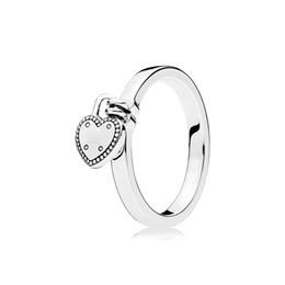 serrures à anneau Promotion Mode serrure d'amour pendentif coeur anneau pour Pandora 925 argent Sterling femmes filles cadeau bijoux bague de mariage boîte ensemble