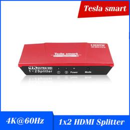 2019 moniteur de sortie vidéo Tesla smart 1x2 HDMI 4K @ 60Hz Splitter Alimenté par HDMI Splitter HDMI double moniteur duplication vidéoAudio