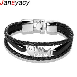fishing bracelets for men Promo Codes - New 2019 Vintage Fish Leather Bracelet For Men Multiple Layer Bead Braided Bracelets Pulseira Fashion Wristband Boyfriend Jewelr