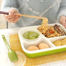 Caja de almuerzo online-1000ml Bento Box Multifunción Adultos Lady Kid Lunchbox Microondas 3 Celdas Healthy Plastic Lunch Box Al Aire Libre Campamento Contenedor de Alimentos OOA6077