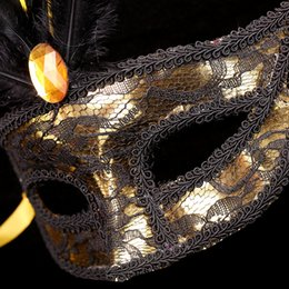 2019 карнавальные перья оптом Косметическое Бал кружева маски Карнавал перо маска Electroplated Шпон Пластиковые рождественские украшения оптом