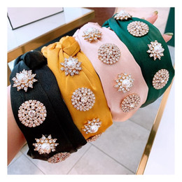 Capelli lisci di seta online-Fashion Knot Turban Hair Bands per le donne Strass Gioielli Seta Fascia Seta Haarband Hairband Diademas Bordadas Accessori per capelli