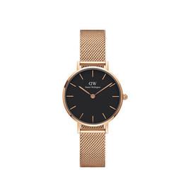 Argentina Moda caliente reloj de cuarzo para las mujeres vestido de las señoras relojes de oro rosa banda de malla de acero inoxidable 26mm pequeño caso dw mujer reloj Reloj Mujer regalo Suministro
