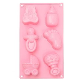 feet fondant Promo Codes - 1 Pc Silicone Baby Feet Cake Mould DIY Chocolate Soap Fondant Cake Mold Safety Reusable Kitchen Baking Mould Tool