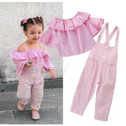 baby brace suit Coupons - Baby Girl Braces Suit Toddler Girl Off Shoulder Ruffle Sleeve Trumpet Sleeve Tops Solid Color Elastic Button Pocket Braces Two-Piece Set