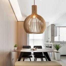 2019 pendentifs d'éclairage de matériel de restauration Lampe de cage à oiseaux en bois moderne nordique lampe suspendue à la maison déco salon salle à manger pendentif luminaire