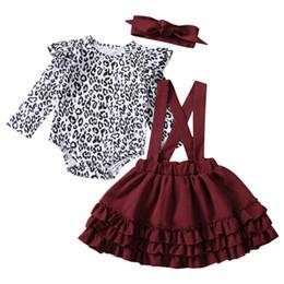 Tamanho do babador do bebê on-line-Menina da criança roupa infantil Baby Kids Clothes menina Leopard Tops Bodysuit + Bib vestido Tutu + Headband 3pcs Outfit 0-24M Tamanho