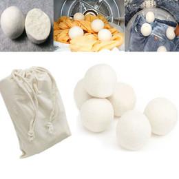 Argentina 6 unids / lote bolas de secador de lana reducir las arrugas reutilizable suavizante de telas antiestático grande fieltro de lana orgánica secador de bolas bola Suministro