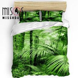 Grüne bettdecken online-MISSHOUSE Bettwäsche-Sets Green Bush Forest Scenery Heimtextilien 3er Set Bettbezug Trösterbezug Kissenbezüge