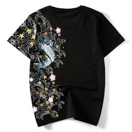 Marcas de roupas japonesas homens on-line-Hzijue Homens Camisetas Bordados Peixe Top Marca de Roupas de Estilo Japonês Chinês T-shirts Para Homem Tees Streetwear Algodão Plus Size SH190703