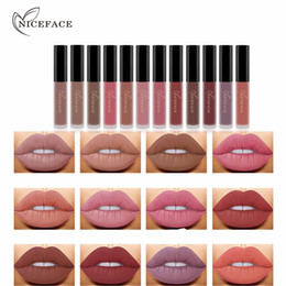 Rossetto unico online-Unico Niceface 12 colori Waterproof Matte Lipstick liquido idratante Smooth Lip Stick Long Lasting Sex Lips Gloss trucco cosmetico di bellezza