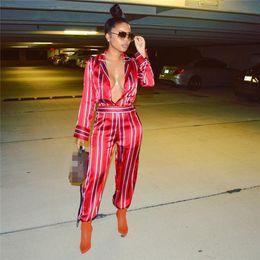 1862a4b213a7 Traje de tirantes para mujer, con estampado de raso, mono sexy, manga larga,  cuello en V profundo, camisa, elegante, elegante, pantalón largo para mujer.  ...