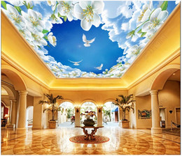 lily fabrics Promo Codes - Customized Large 3D photo wallpaper 3d ceiling murals wallpaper Zenith lily flower simple botanical flower ceiling background wall