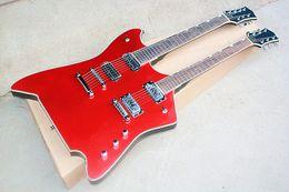 Canada Guitare électrique spéciale double col rouge transparente avec touche en palissandre, 7 cordes + 6 cordes, reliure blanche, peut être personnalisé Offre