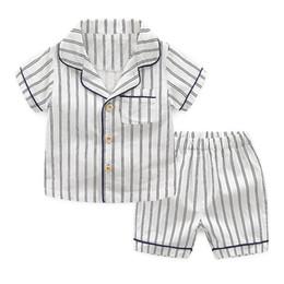 Набор унисекс пижам онлайн-Дети Унисекс Пижамы Полосатый Белый Синий Комплект Одежды Мальчики Девочки Однобортный Карман Детская Дизайнерская Одежда 1-6 Т