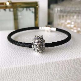 Mãos de leão on-line-Pulseira de luxo 925 Sterling Silver Lion Head Hand Strap Designer DIY Pulseira para Mulheres Presentes dos homens