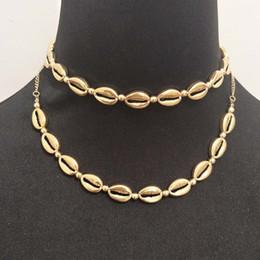 Boho Hawaii Deniz Kabuğu Kolye Gerdanlık Takı Bohemian Plaj Püskül Kolye Kabuk Altın Renk Zinciri Kadınlar Için Yaka Chocker cheap chocker tassel necklace nereden taklit peşin kolye tedarikçiler