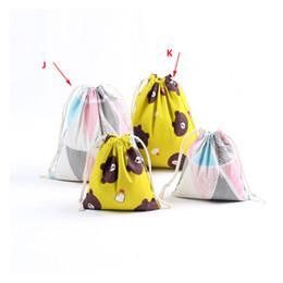 Canada Sac de rangement de magasinage en lin de coton imprimé qui respecte l'environnement se pliant sac de cordon portatif réutilisable pour les sacs d'épicerie de voyage supplier eco friendly reusable folding bag Offre