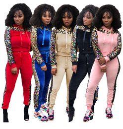 b2959b8c8267 Women sequins winter outfits hoodie crop top leggings designer tracksuit  sweatshirt pant two piece set sportswear tights pullover sweatsuit