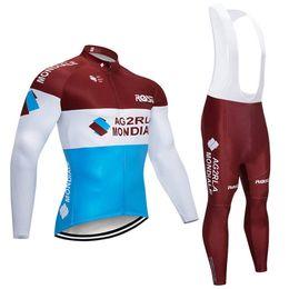 Argentina Equipo AG2R Ciclismo mangas largas jersey babero pantalones conjuntos Nueva llegada al aire libre ropa de bicicleta ropa deportiva U40333 Suministro
