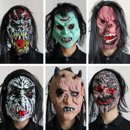 white male full face mask Promo Codes - Halloween Latex Grimace Mask Adult Scary Devil Male Headgear Funny Face Full Face Spoof Mask