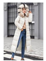 parkas for winter Promo Codes - Long Coat Jacket Fashion Winter Jacket Women Thick Down Parka female Slim Fur Collar Winter Warm Cotton Coat For Women Hot Sale