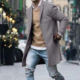 Moda-2019 Nueva primavera Otoño gabardina hombres Botón Manga larga Ropa deportiva Moda Streetwear hombres chaqueta larga chaqueta larga hombr desde fabricantes