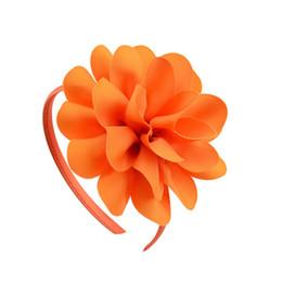 2019 nuovi fiori di grosgrain New Grosgrain Ribbon Big Flowers Hairband Princess Kids Accessori per capelli Fascia per capelli in plastica Fascia per capelli per bambina con fiore
