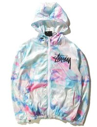 2019 eisjacken New Fashion Damen Herren Mäntel Print Splash-ink Tie Dye Ice Cream Farbe High Street Herren Jacke Fashion Windbreaker von Harajuku Herren Mäntel rabatt eisjacken
