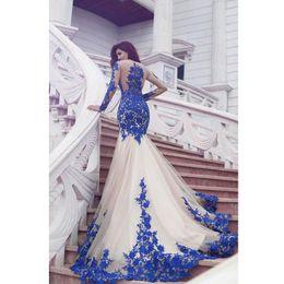 vestido sexy de lily collins Rebajas 2020 nuevos de la llegada de manga larga de encaje azul real vestidos de noche de la sirena de encaje de tul Prom Vestidos Lo nuevo