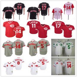 johnny bank trikot Rabatt 14 Cincinnati Pete Rose 5 Johnny Bench 11 Barry Larkin 17 Chris Sabo Jahrgang 1976 1969 1990 genähter Baseball-Shirts