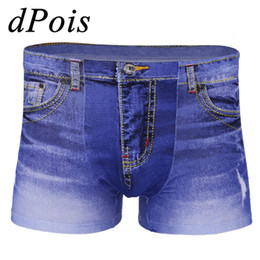 low rise jeans shorts Coupons - Hot Sale Adult Men Male Fake Jeans Print Denim Breathable Flat Feet Pants Shorts Clothes Low Rise Stretchy Breathable Jeans