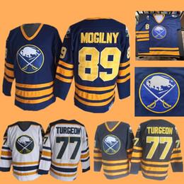 pierre bianco Sconti Pierre Turgeon Alexander Mogilny Jersey Hockey su ghiaccio Buffalo Sabres NEW York Islanders Maglie CCM Vintage White Navy Home Away