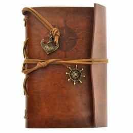 Cuaderno pirata online-viajes jardín libros de diario kraft papeles cuaderno de espiral de la vendimia del pirata de estudiantes de la escuela cuadernos barato libros clásicos MMA1443-6