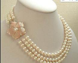 9741a97b0 Flower clasps pearl necklace online shopping - necklace Hot sale Rows  Genuine mm White Pearl KWGP