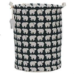 hamper clothes basket Coupons - Laundry Basket Bin Foldable Cotton Linen Basket with Handles Cloth Storage Bucket Pet Organizer Nursery Hampers (Polar Bear) Stock in USA