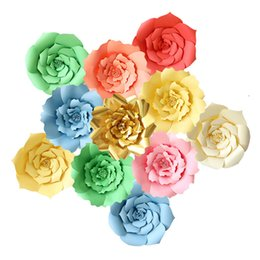 Decoração de parede de papel de flores on-line-20 centímetros DIY Paper Flowers Recados Detalhes no Fundo do partido da foto da flor artificial para o casamento aniversário Decoração do partido